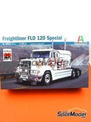 Italeri: Model truck kit 1/24 scale - Freightliner FLD 120 Special - plastic parts, rubber parts, water slide decals and assembly instructions