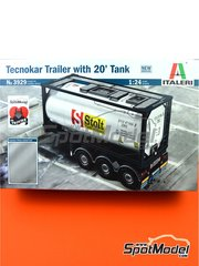Italeri: Trailer kit 1/24 scale - Tecnokar 20' - plastic parts, rubber parts, water slide decals and assembly instructions