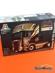 Italeri: Model truck kit 1/24 scale - Scania R730 V8 Streamline - plastic parts, rubber parts, water slide decals and assembly instructions