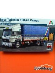 Italeri: Maqueta escala 1/24 - Iveco Turbostar 190.42 Canvas  - piezas de plástico, piezas de goma, calcas de agua, manual de instrucciones e instrucciones de pintado