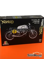 Italeri: Model bike kit 1/9 scale - Norton Manx 500cc - Geoff Duke (GB) - World Championship - plastic parts, rubber parts, water slide decals, other materials and assembly instructions