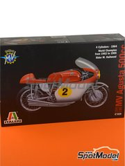 Italeri: Model bike kit 1/9 scale - MV Agusta 4-Cylinder 500cc #2 - Mike Hailwood (GB) - Motorcycle World Championship 1964 - plastic parts, rubber parts, water slide decals and assembly instructions image