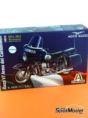 Italeri: Model bike kit 1/9 scale - Moto Guzzi V7 - metal parts, plastic parts, rubber parts, water slide decals and assembly instructions