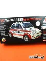 Italeri: Model car kit 1/12 scale - Fiat Abarth 695 SS Assetto Corsa #56 - plastic parts, rubber parts, water slide decals, assembly instructions and painting instructions image