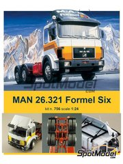 Italeri: Model truck kit 1/24 scale - Man 26.321 Formel six - plastic parts, rubber parts, water slide decals and assembly instructions