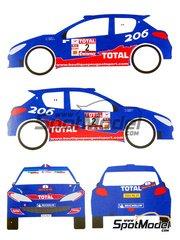 MM24 Models: Decals 1/24 scale - Peugeot 206 S1600 Total #2 - Cédric Robert (FR) - Rally Du Var 2002 - for Tamiya kit