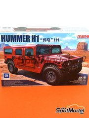 Meng Model: Model car kit 1/24 scale - Hummer H1 - photo-etched parts, plastic parts, rubber parts, water slide decals, other materials, assembly instructions and painting instructions image