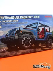 Meng Model: Model car kit 1/24 scale - Jeep Wrangler Rubicon - plastic parts, rubber parts, water slide decals, assembly instructions and painting instructions