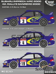 Mf-zone: Decals 1/24 scale - Subaru Impreza WRC #3, 4, 19 - Richard Burns (GB) + Robert Reid (GB), Simon Jean-Joseph (FR) + Jacques 'Jack' Boyère (FR), Petter Solberg (NO) + Phil Mills (GB) - Sanremo Rally 2000