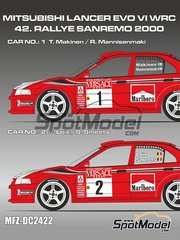 Mf-zone: Decals 1/24 scale - Mitsubishi Lancer Evo VI Marlboro #1, 2 - Tommi Mäkinen (FI) + Risto Mannisenmäki (FI), Freddy Loix (BE) + Sven Smeets (BE) - Sanremo Rally 2000 - for Tamiya references TAM24203 and TAM24220