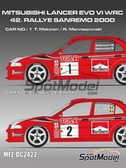 Mf-zone: Calcas de agua escala 1/24 - Mitsubishi Lancer Evo VI Marlboro Nº 1, 2 - Tommi Mäkinen (FI) + Risto Mannisenmäki (FI), Freddy Loix (BE) + Sven Smeets (BE) - Rally de San Remo 2000 - para kits de Tamiya TAM24203 y TAM24220