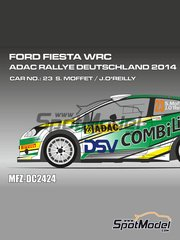 Mf-zone: Decals 1/24 scale - Ford Fiesta WRC DSV #23 - Sam Moffett (IE) + James O'Reilly (IE) - ADAC Deutschland Rally 2014 - for Belkits reference BEL-003