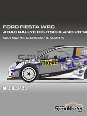 Mf-zone: Decals 1/24 scale - Ford Fiesta WRC Kel-Tech #14 - Craig Breen (IE) + Scott Martin (GB) - ADAC Deutschland Rally 2014 - for Belkits reference BEL-003