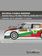 Mf-zone: Decals 1/24 scale - Skoda Fabia S2000 Evo Landpute #36 - Armin Kremer (DE) + Klaus Wicha (DE) - ADAC Deutschland Rally 2014 - for Belkits references BEL-004 and BEL004