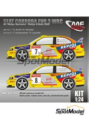 Mf-zone: Model car kit 1/24 scale - Seat Cordoba EVO 3 WRC Repsol YPF #7, 8 - Didier Auriol (FR) + Denis Giraudet (FR), Toni Gardemeister (FI) + Paavo Lukander (FI) - Rally d'Italia Sardinia 2000 - photo-etched parts, resin parts, rubber parts, vacuum formed parts and water slide decals