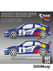 Mf-zone: Model kit 1/24 scale - Renault Megane Maxi Team Diac #5, 6 - Philippe Bugalski (FR) + Jean-Paul Chiaroni (FR), Jean Ragnotti (FR) + Gilles Thimonier (FR) - Alsace France Rally 1996 - resin parts, rubber parts, vacuum formed parts, water slide decals and assembly instructions