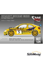 Mf-zone: Model kit 1/24 scale - Renault Megane Maxi PBI Bank #5 - Janusz Kulig (PL) + Jaroslaw Baran (PL) - Rally Poland 1997 - photo-etched parts, resin parts, rubber parts, vacuum formed parts, water slide decals and assembly instructions