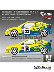 Mf-zone: Model kit 1/24 scale - Renault Megane Maxi Michelin #33, 36 - Martin Rowe (GB) + Derek Ringer (GB), Tapio Laukkanen (FI) + Kaj Lindström (FI) - Sanremo Rally, Rally d'Italia Sardinia 1998 - resin parts, rubber parts, vacuum formed parts, water slide decals and assembly instructions