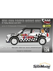 Mf-zone: Transkit 1/24 scale - Mini John Cooper Works WRC Lotos #12 - Michal Kosciuszko (PL) + Maciej Szczepaniak (PL) - Montecarlo Rally 2013 - photo-etched parts, resin parts, rubber parts, water slide decals and assembly instructions - for Hasegawa kit