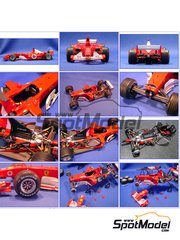 Model Factory Hiro: Model car kit 1/20 scale - Ferrari F2003-GA Marlboro #1, 2 - Michael Schumacher (DE), Rubens Barrichello (BR) - Japan Grand Prix 2003