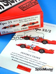 Model Factory Hiro: Model car kit 1/24 scale - Alfa Romeo Tipo 33 #36, 38, 39, 40, 41 - 24 Hours Le Mans 1968, 1969
