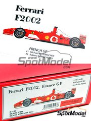 Model Factory Hiro: Model car kit 1/20 scale - Ferrari F2002 Marlboro #1, 2 - Michael Schumacher (DE), Rubens Barrichello (BR) - French Grand Prix 2002