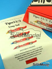 Model Factory Hiro: Model car kit 1/24 scale - Alfa Romeo Tipo 33/3 Long tail - 24 Hours Le Mans 1970