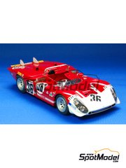 Model Factory Hiro: Model car kit 1/24 scale - Alfa Romeo Tipo 33/3 Short tail - 24 Hours Le Mans 1970