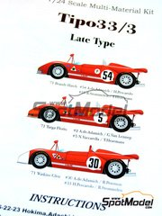 Model Factory Hiro: Model car kit 1/24 scale - Tipo 33/3 Late type ver. B #2, 5 - 1000 Kms Brands Hatch, Targa Florio, Watkins Glen 6 Hours 1971