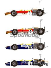 Model Factory Hiro: Model car kit 1/20 scale - Lotus 49B MK II Works High wing Gold Leaf #3, 8, 16, 22 - Graham Hill (GB), Joseph 'Jo' Siffert (CH), Rob Walker (GB) - German Grand Prix 1968
