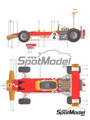Model Factory Hiro: Model car kit 1/20 scale - Lotus 49B MK III Works High wing Gold Leaf #10, 12, 23 - Mexican Grand Prix, USA Grand Prix 1969