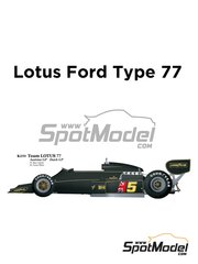 Model Factory Hiro: Model car kit 1/20 scale - Lotus Ford Type 77 John Player Special #5, 6 - Mario Andretti (US), Gunnar Nilsson (SE) - Austrian Grand Prix, Dutch Grand Prix 1976 - metal parts, photo-etched parts, resin parts, rubber parts, seatbelt fabric, turned metal parts, vacuum formed parts, water slide decals, white metal parts, other materials and assembly instructions image