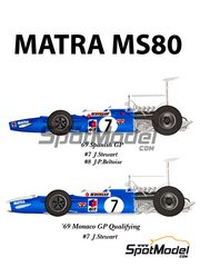 Model Factory Hiro: Model car kit 1/20 scale - Matra Ford MS80 ELF #7, 8 - Sir John Young 'Jackie' Stewart (GB), Jean-Pierre Beltoise (FR) - Spanish Grand Prix 1969