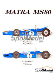 Model Factory Hiro: Model car kit 1/20 scale - Matra Ford MS80 ELF #2, 3, 4, 7 - Sir John Young 'Jackie' Stewart (GB), Jean-Pierre Beltoise (FR) - French Grand Prix 1969 - CNC metal parts, assembly instructions, photo-etched parts, resin parts, rubber parts, seatbelt fabric, turned metal parts, vacuum formed parts, water slide decals and white metal parts