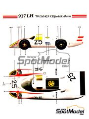 Model Factory Hiro: Model car kit 1/24 scale - Porsche 917 LH #25 - Vic Elford (GB) + Kurt Ahrens (DE) - 24 Hours Le Mans 1970
