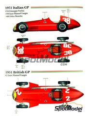 Model Factory Hiro: Model car kit 1/20 scale - Alfa Romeo Tipo 159 ver B Alfetta #2, 34, 38, 40 - Juan Manuel Fangio (AR), Felice Bonetto (IT), Giuseppe Farina (IT) - British Formula 1 Grand Prix 1951