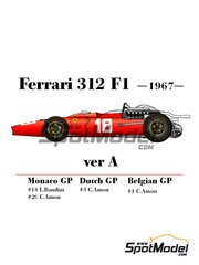 Model Factory Hiro: Model car kit 1/20 scale - Ferrari 312 F1 version A #1, 3, 18, 20 - Chris Amon (NZ), Lorenzo Bandini (IT) - German Grand Prix, Belgian Grand Prix, Dutch Grand Prix 1967