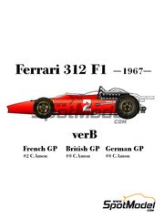 Model Factory Hiro: Model car kit 1/20 scale - Ferrari 312 F1 version B #2, 8 - Chris Amon (NZ) - French Grand Prix 1967
