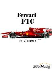 Model Factory Hiro: Model car kit 1/20 scale - Ferrari F10 800 Grand Prix Banco Santander #7, 8 - Fernando Alonso (ES), Felipe Massa (BR) - Turkish Grand Prix 2010