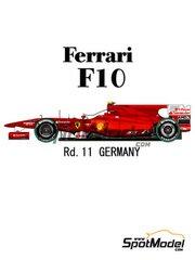 Model Factory Hiro: Model car kit 1/20 scale - Ferrari F10 Banco Santander #7, 8 - Fernando Alonso (ES), Felipe Massa (BR) - German Grand Prix 2010