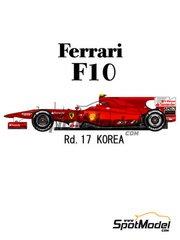 Model Factory Hiro: Model car kit 1/20 scale - Ferrari F10 Banco Santander #7, 8 - Fernando Alonso (ES), Felipe Massa (BR) - Korea Grand Prix 2010