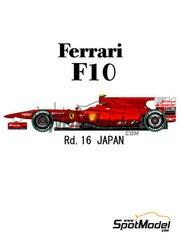 Model Factory Hiro: Model car kit 1/20 scale - Ferrari F10 Banco Santander #7, 8 - Fernando Alonso (ES), Felipe Massa (BR) - Japan Grand Prix 2010