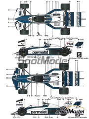 Model Factory Hiro: Model car kit 1/20 scale - Brabham BMW BT52 Parmalat #5, 6 - Nelson Piquet (BR), Riccardo Patrese (IT) - Belgian Grand Prix, Monaco Formula 1 Grand Prix, USA Grand Prix 1983 - multimaterial kit image