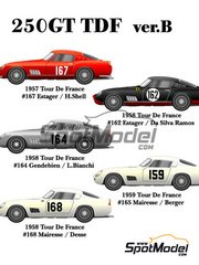 Model Factory Hiro: Model car kit 1/24 scale - Ferrari 250GT TDF - Tour de France Automobile 1957, 1958 and 1959 - metal parts, photo-etched parts, resin parts, rubber parts, turned metal parts, vacuum formed parts, water slide decals, white metal parts, other materials and assembly instructions