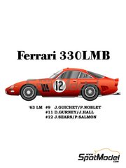 Model Factory Hiro: Model car kit 1/24 scale - Ferrari 330LMB #9, 11, 12 - Jean Guichet (FR) + Pierre Noblet (BE), Dan Gurney (US) + Jim Hall (US), Jack Sears (GB) + Michael Salmon (GB) - 24 Hours Le Mans 1963 - metal parts, photo-etched parts, resin parts, rubber parts, turned metal parts, vacuum formed parts, water slide decals, white metal parts, other materials and assembly instructions