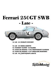 Model Factory Hiro: Model car kit 1/24 scale - Ferrari 250GT SWB Late #14, 19, 6, 142, 147 - Pierre Noblet (BE) + Jean Guichet (FR), George Reed (US) + George Arents (US), Michael Johnson 'Mike' Parkes (GB) + Willy Mairesse (BE) - 24 Hours Le Mans, Tour de France Automobile, Tourist Trophy 1961 - metal parts, photo-etched parts, resin parts, rubber parts, seatbelt fabric, turned metal parts, vacuum formed parts, water slide decals, white metal parts, other materials and assembly instructions