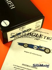 Model Factory Hiro: Model car kit 1/20 scale - Anglo-American Eagle T1G #36 - Dan Gurney (US) - Belgian Grand Prix 1967 - multimaterial kit