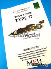 Model Factory Hiro: Transkit 1/12 scale - Lotus Ford 77 #5 - Mario Andretti (US) - Japan Grand Prix 1976 - photo-etched parts, resin parts, rubber parts, water slide decals, white metal parts, other materials and assembly instructions - for Tamiya kit