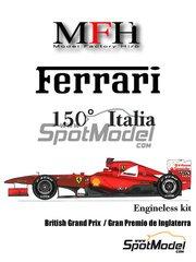 Model Factory Hiro: Model car kit 1/20 scale - Ferrari 150 Italia Banco Santander #5, 6 - Fernando Alonso (ES), Felipe Massa (BR) - British Grand Prix 2011