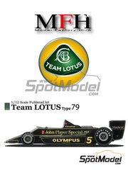 Model Factory Hiro: Model car kit 1/12 scale - Lotus Ford Type 79 John Player Special #5, 6 - Austrian Grand Prix, Dutch Grand Prix, Italian Grand Prix 1978
